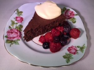 single slice flourless desert chocolate cake
