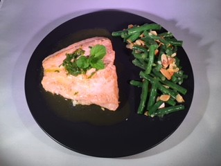 Salmon with fresh mint and lemon oil